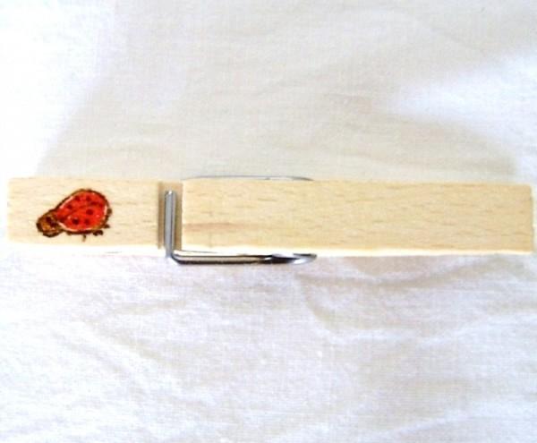 Wiesnglupperl Holzklammer mit Motiv Marienkäfer, einseitig