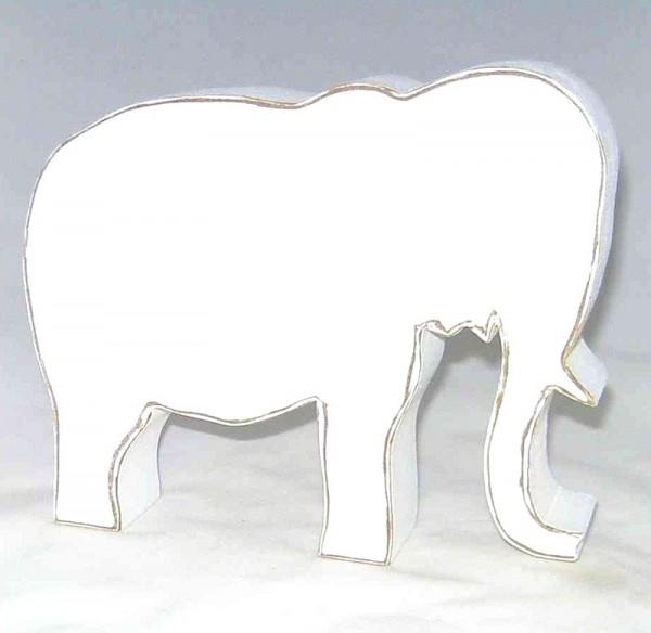 Dekofigur Elefant, MDF-Holz weiss im Shabby Chic Stil