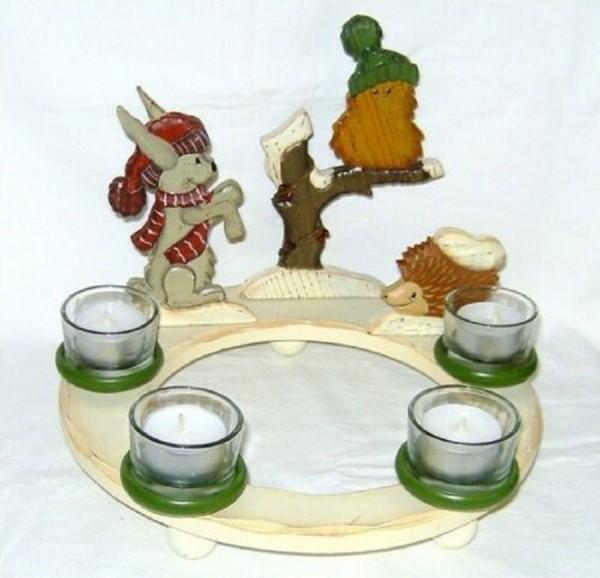 Kerzenring Adventskranz 4 Teelichter Holzdeko