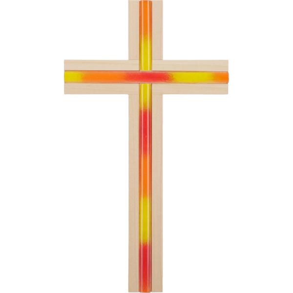 Kreuz Holz-Linde zum aufhängen mit Glaseinlage