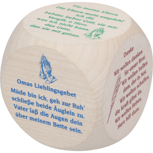 Gebetswürfel Ahornholz, natur - Sondergebete