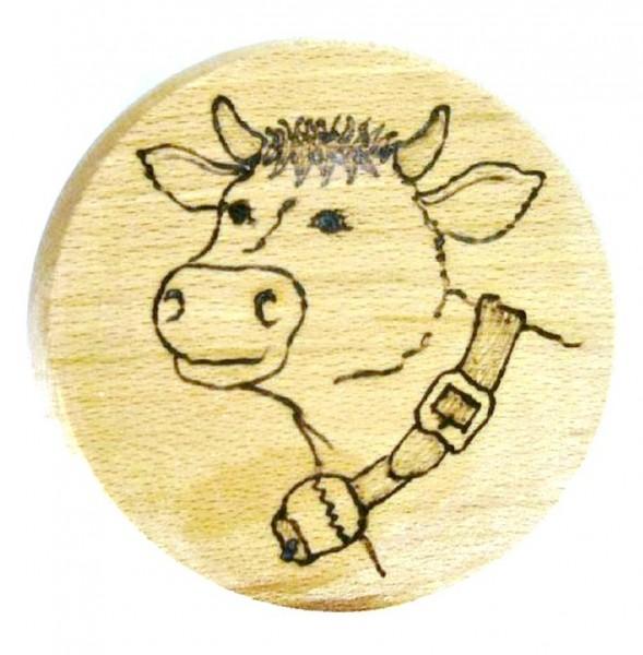 Bierdeckel aus Holz mit Brandmalerei Brandmotiv Kuh
