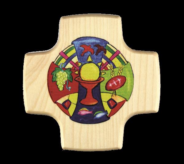 kleines Kommunionkreuz Holz, Motiv Gottes Gaben