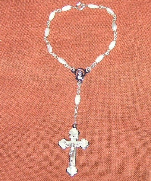 Rosenkranz gekettelt, Perlmutt 18cm, Verschluss, Devotionalien