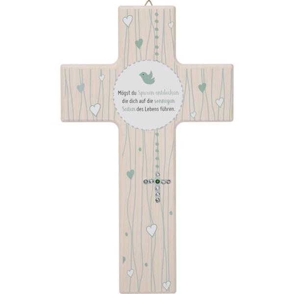 Kinderkreuz Holz, natur, Kreuz in Kristallsteinchen