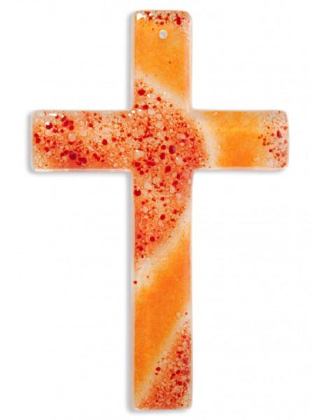 Glaskreuz handgearbeitet rot/orange 20x13x3cm