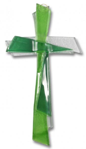 Glaskreuz, Kreuz aus Glas grün