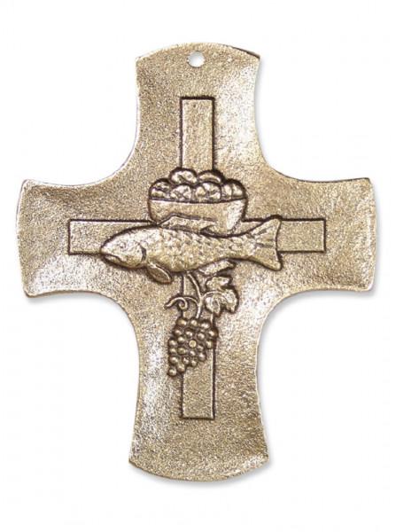 Kreuz aus Bronze - Motiv Kelch-Fische, 9cm