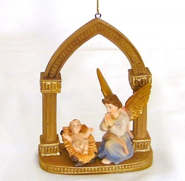 Schutzengel und Kind im Bogen, Polyresan, Christliches Geschenk