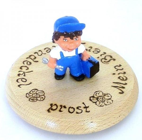 Bierdeckel Holz mit Spruch u. Figur Mechaniker Plastik