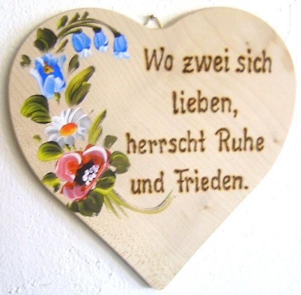 Holzherz 18x18cm Blumen Bauernmalerei u. Brandmalerei Spruch 09