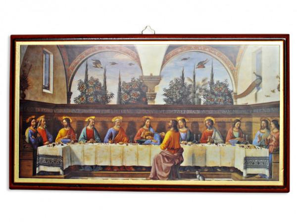 Abendmahl auf Holzplatte, Bild 32 x 18 cm, 04/20
