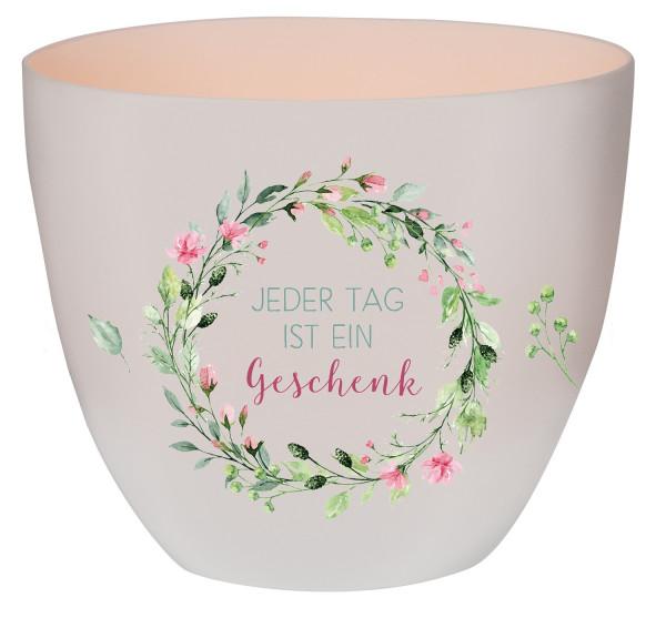 Windlicht Porzellan - Jeder Tag ist ein Geschenk