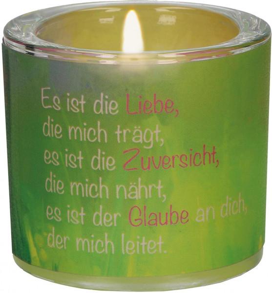 Lichtmoment Windlicht - Liebe, Zuversicht u. Glaube