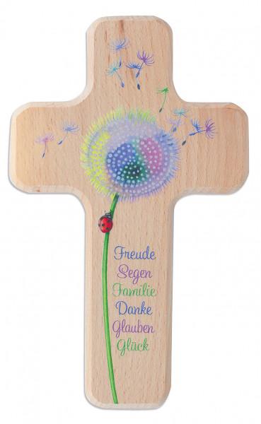 Kinderholzkreuz - Kreuz, mit Motiv Pusteblume