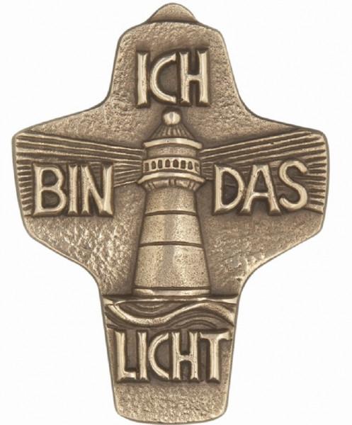 Kommunionkreuz Bronze - Symbolkreuz 5 Symbole