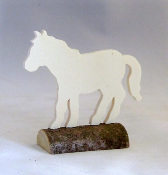 Tischkarte Holz Namensschild Pferd Sperrholz auf Naturstamm
