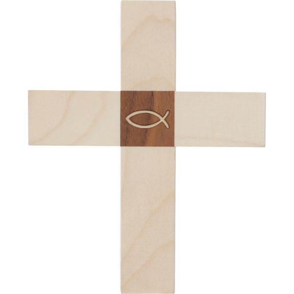 Kreuz Holz-Ahorn, mit Einlage Nussbaum Fisch 16 x 13 x 1,8cm
