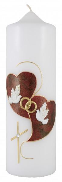 Hochzeitskerze, Kerze rot/gold Herzen Taube Kreuz