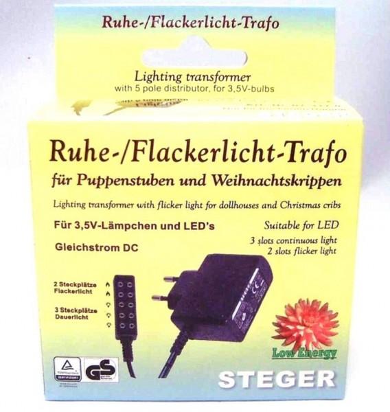 Flacker u. Ruhelicht, Steger- Trafo für 3,5V Lämpchen