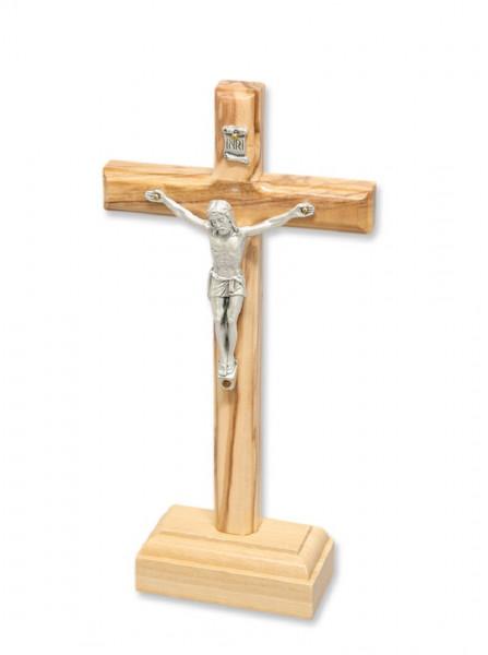 Stehkreuz, Kreuz aus Olivenholz mit Metallkörper