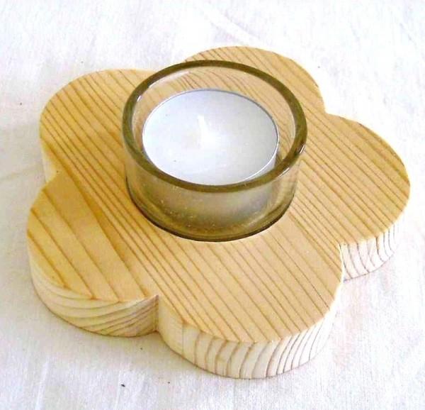 Holz Blume natur, Teelichthalter