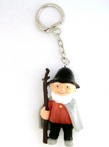 Schlüsselanhänger mit Schäfer, Figur aus Kunststoff