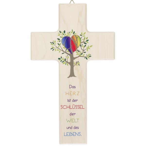 Kinderkreuz Holz, natur, Das Herz ist der Schlüssel