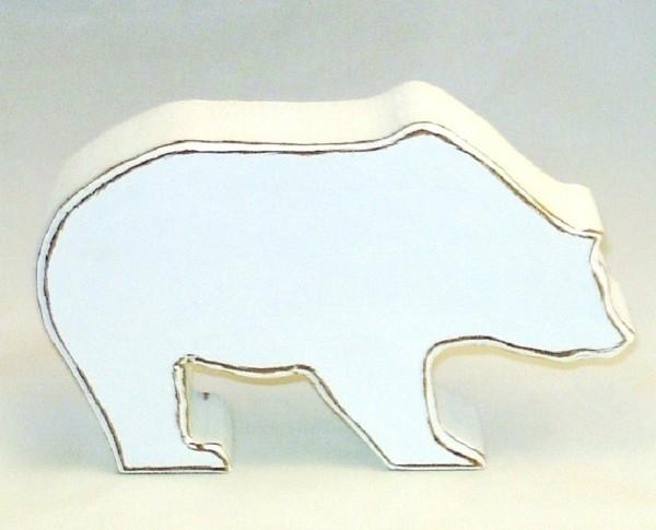 Dekofigur Braunbär klein MDF-Holz weiß im Shabby Chic Stil