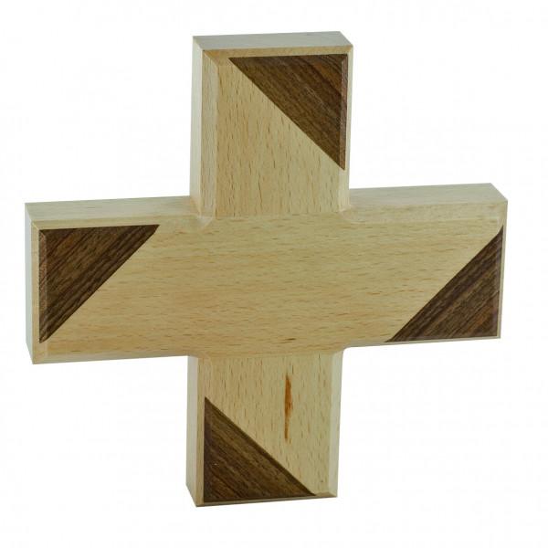 Kreuz aus Holz mit Einlagen aus Nussbaumholz