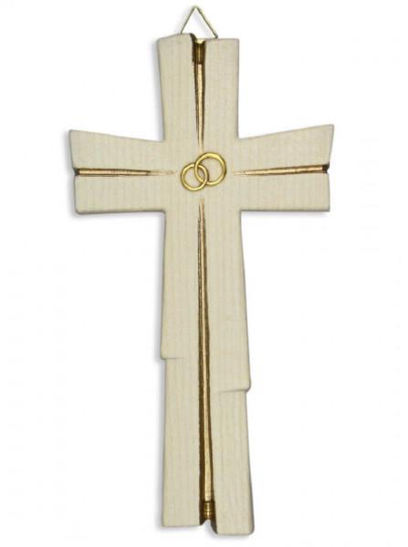Kreuz Holz geschnitzt, Hochzeitskreuz goldfarben