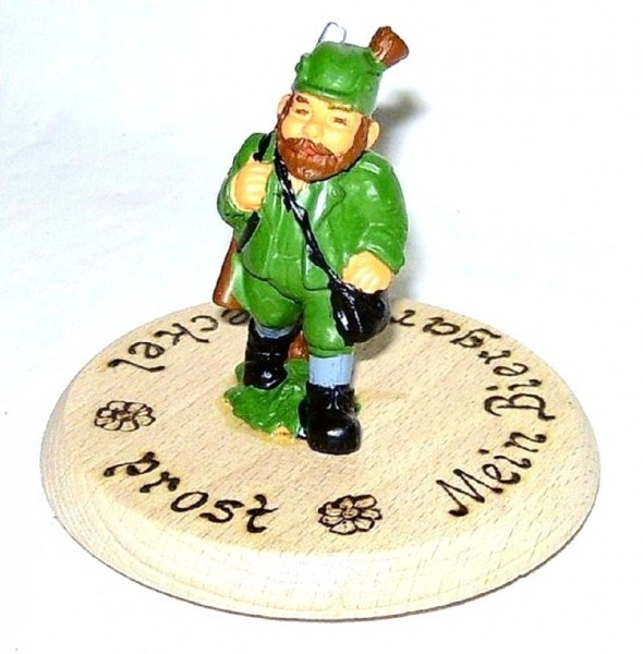 Bierdeckel aus Holz mit Spruch und Figur Jäger Plastik