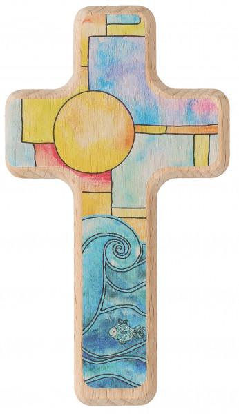 Kinderholzkreuz Sonne und Wasser, farbig bedruckt