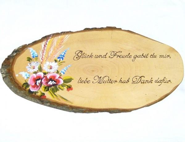 Rindenbrett rustikal, Holz Schild oval, Blumen mit Spruch 02