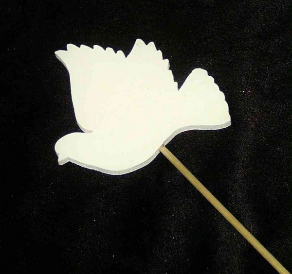 Deko Stecker Taube 8cm x 8cm aus Holz, weiß