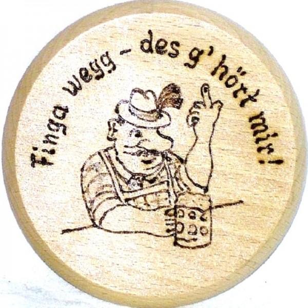 Bierdeckel aus Holz mit Brandmotiv u. Spruch finga wegg