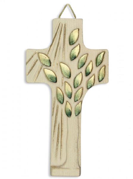 Kreuz aus Holz geschnitzt, Lebensbaum gold-grün