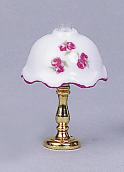 Puppenhaus Mini Tischlampe 3,5V, Messingfuß und Porzellanschirm mit Blumenmotiv