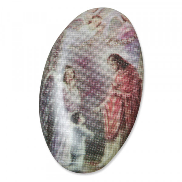 Bildaufkleber oval Kommunionkind mit Engel, 3cm