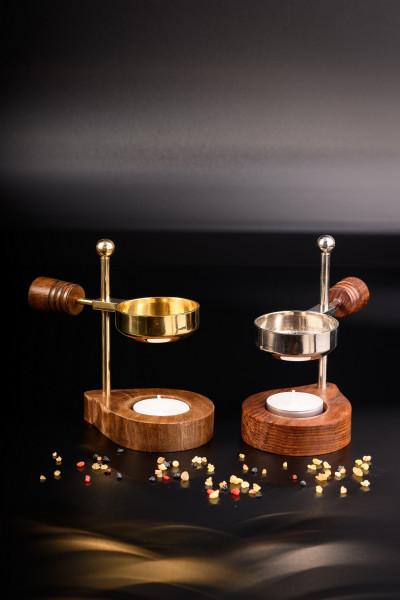 Räucherstövchen in Messing oder vernickelt mit Holzbasis & Holzgriff