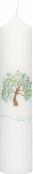 Taufkerze Motiv Lebensbaum, Fische und Welle
