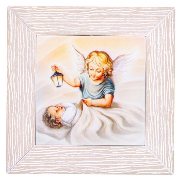 Schutzengelbild Baby u. Engel mit Laterne