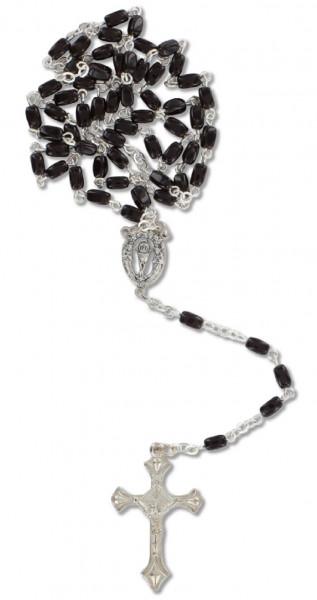 Rosenkranz gekettelt - schwarze Glasperlen
