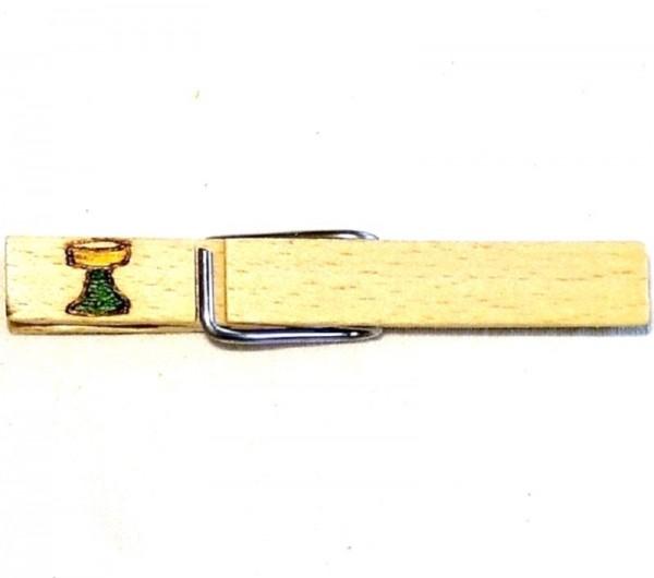 Wiesnglupperl Holzklammer mit Motiv Weinglas, einseitig