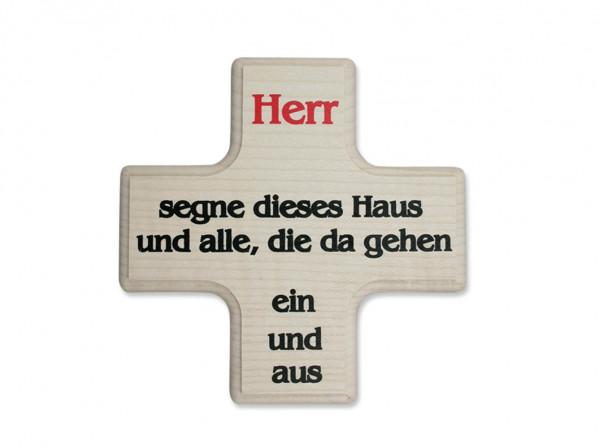 Holzkreuz-Haussegen hell 2-farbig bedruckt, 07/2