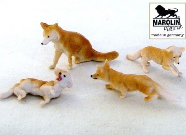 Fuchs mit 3 Jungfüchsen Marolin Plastik Deko Sammelfigur