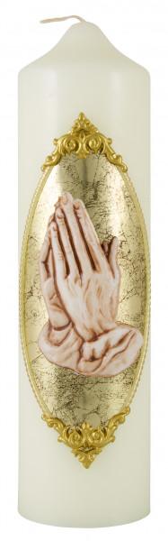 Kerze betende Hände, Motivkerze - Eierschale 22x6