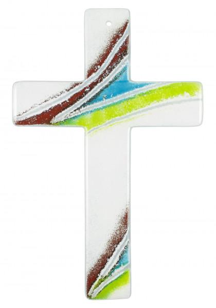 Glaskreuz handg. braun-blau-grün-weiß 20x13