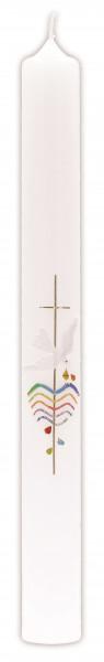 Taufkerze, Wachsmotiv Kreuz in Gold weiße Tauben