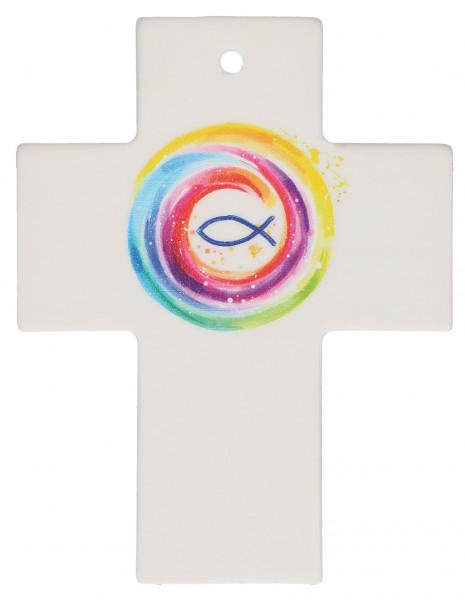 Kreuz aus Porzellan - Gott behüte dich
